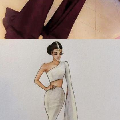 Burgundy prom dress,Two pieces prom..