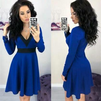 Fashion V-neck Long Sleeves Dress,B..