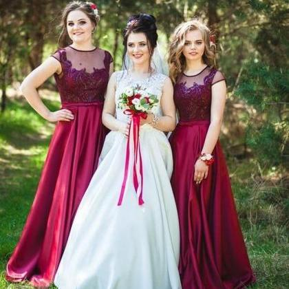 A Line Scoop Neck Long Bridesmaid D..