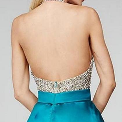 Cute Round Neck Sequin Backless Gre..