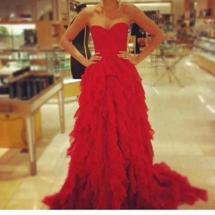 Charming Prom Dress,Tiered Prom Dre..