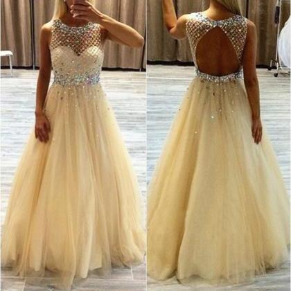 Yellow Tulle Backless Prom Dresses ..