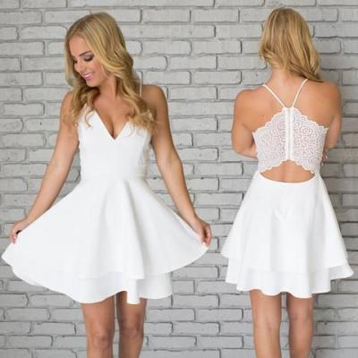 White Homecoming Dress V Neck,Sexy Homecoming Dress,Teens Homecoming Dress,Spaghetti Straps Homecoming Dress, Short Party Dresses,Juniors Prom Gown