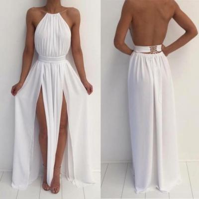 White Chiffon Prom Dresses Long A-line Backless Formal Gowns Two Side Slit Evening Dresses Sexy Party Dresses for Teens Girls