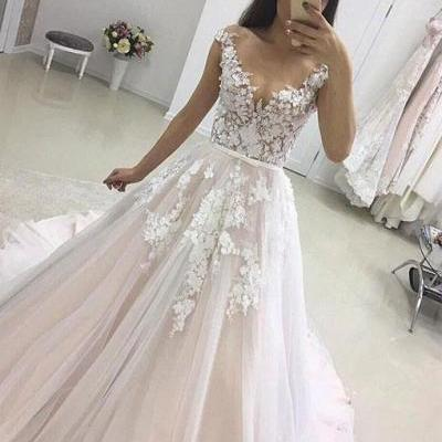 Simple Prom Dresses,New Prom Gown,Vintage Prom Gowns,Stylish lace tulle long prom dress, lace evening dress
