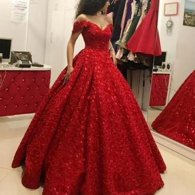Ball Gown Off the Shoulder Floor-Length Red Satin Prom Dress,BW92693