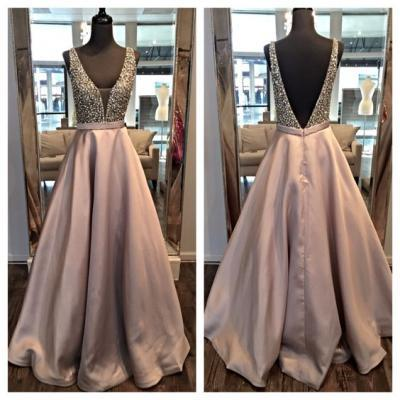 Charming Prom Dress,V-Neck Prom Dress,Beading Prom Dress,Satin Prom Dress,A-Line Evening Dress,PD1700004