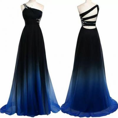 Charming Prom Dress,One-Shoulder Prom Dress,Gradient Color Prom Dress,Chiffon Prom Dress,A-Line Evening Dress,PD1700009