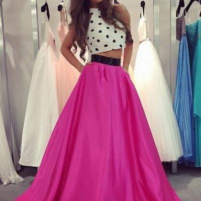 Charming Prom Dress,Two-Pieces Prom Dress,A-Line Prom Dress,Satin Prom Dress,Halter Evening Dress,PD1700040