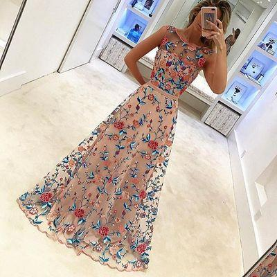Floral Embroidery Prom Dresses,A-line Prom Dress,Sleeveless Prom Dress,High Quality Prom Dress,Gorgeous Prom Dress