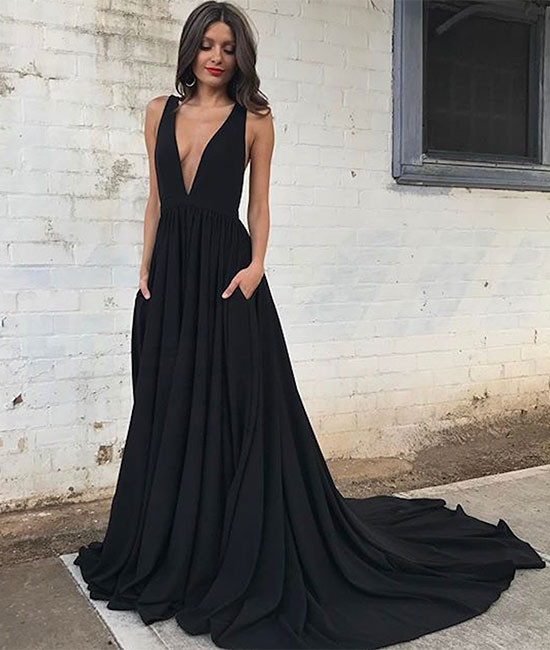 Black prom dress, V-neck A-line long prom dress,backless prom gown,satin prom gowns