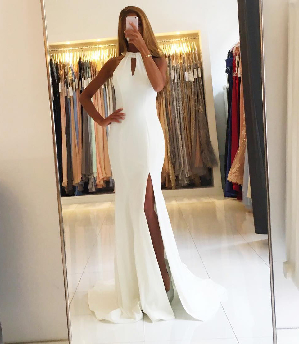 High Slit Long Mermaid Prom Dresses White Chiffon Evening Dresses Sexy Formal Gowns Party Dresses Backless