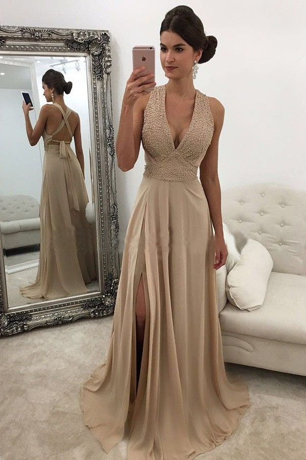 9bc43ce0e827 Elegant Prom Dresses,V Neck Prom Gown,Champagne Prom Dresses,Long Prom Dress