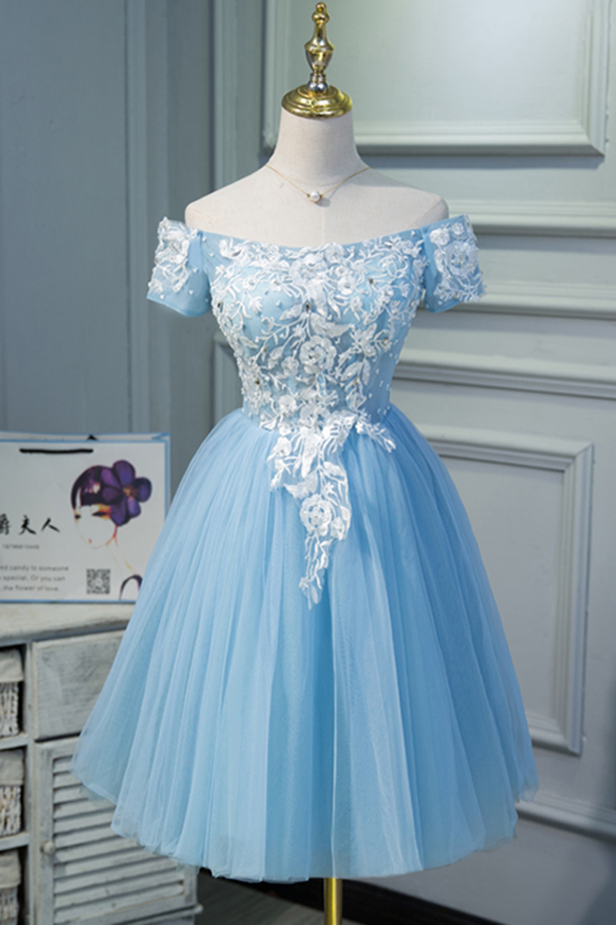 6832bddd570f Cute blue tulle off shoulder knee length homecoming dress with sleeves, lace  short party dress