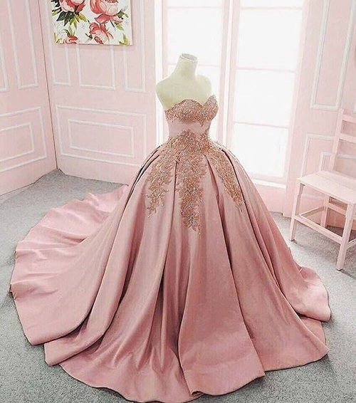Long Floor Length ball gown quinceanera dresses Evening Dresses Glamorous Prom Dress blush pink Graduaction Dresses
