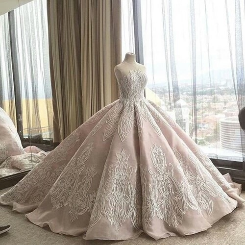 Long Floor Length ball gown quinceanera dresses Evening Dresses Glamorous Prom Dress ivory Graduaction Dresses