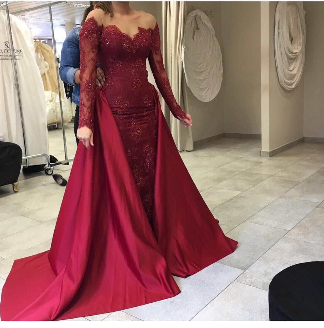 New Arrival Prom Dress,Modest Prom Dress,wine red prom dress,long sleeves burgundy prom dress,mermaid burgundy prom dress
