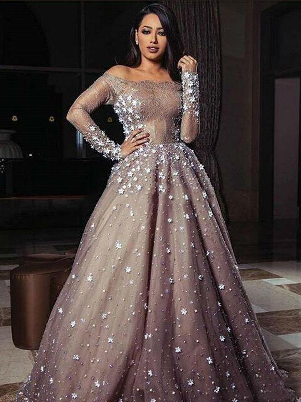 e322b068dc6e A-line Off-the-shoulder Prom Dress Silver Long Sleeve Tulle Prom Dresses