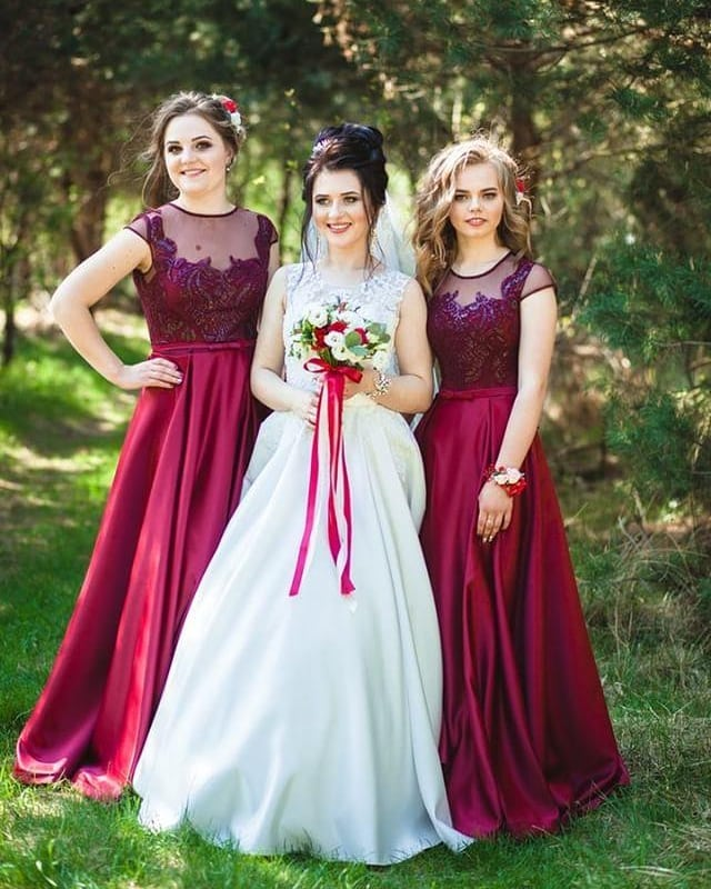 A Line Scoop Neck Long Bridesmaid Dresses,BW93643