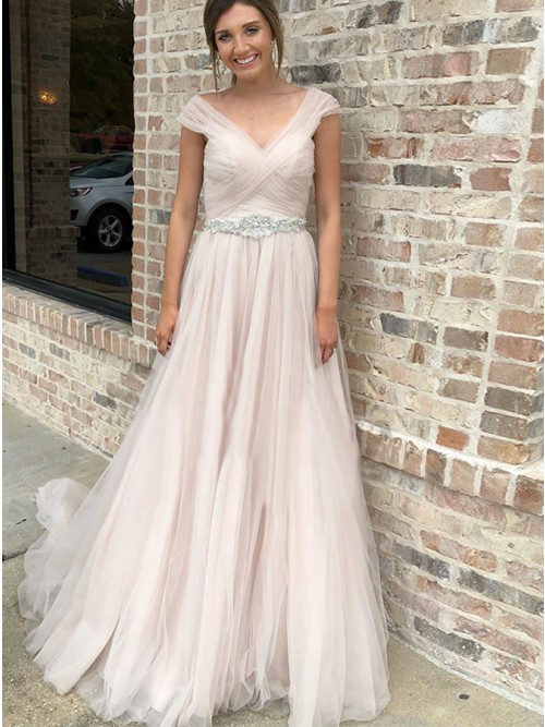 Mild V-neck Cap Sleeves Pink Sweep Train Prom Dress with Beadings, BW9600