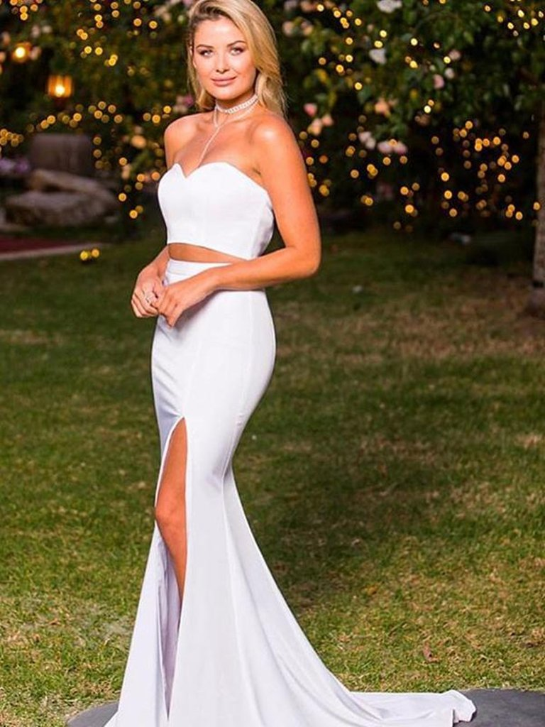 Elegant Sweetheart Neck Two Pieces Mermaid White Satin Long Prom Dresses with Slit, Two Pieces White Formal Dresses, BW9696