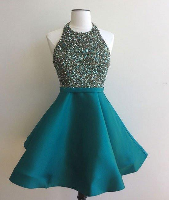 Cute Round Neck Sequin Backless Green Short Prom Dresses, Green Homecoming Dresses, BW9712