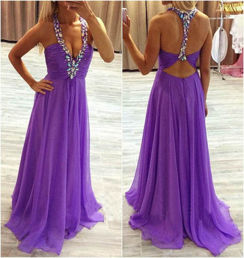 Charming Prom Dress,Chiffon Prom Dress,A-Line Prom Dress,V-Neck Prom Dress,Beading Prom Dress,Backless Prom Dress,PD1700123