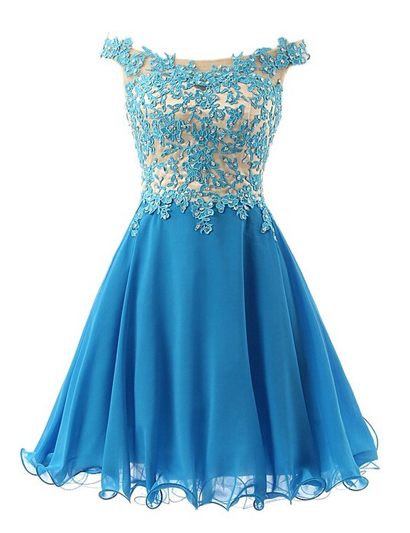 edabe26f9bc4 Lace Appliques Off-The-Shoulder Short Chiffon A-Line Homecoming Dress