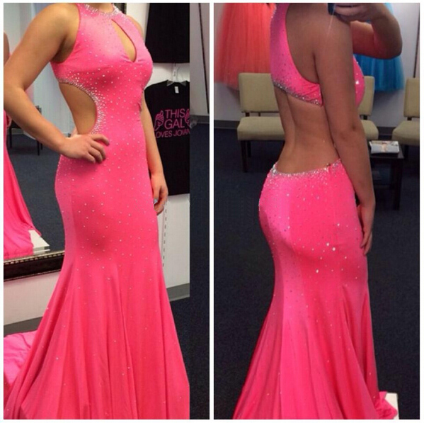 High Quality Prom Dress,Mermiad Prom Dress,Halter Prom Dress,Backless Prom Dress,Sexy Beading Prom Dress,PD1700335