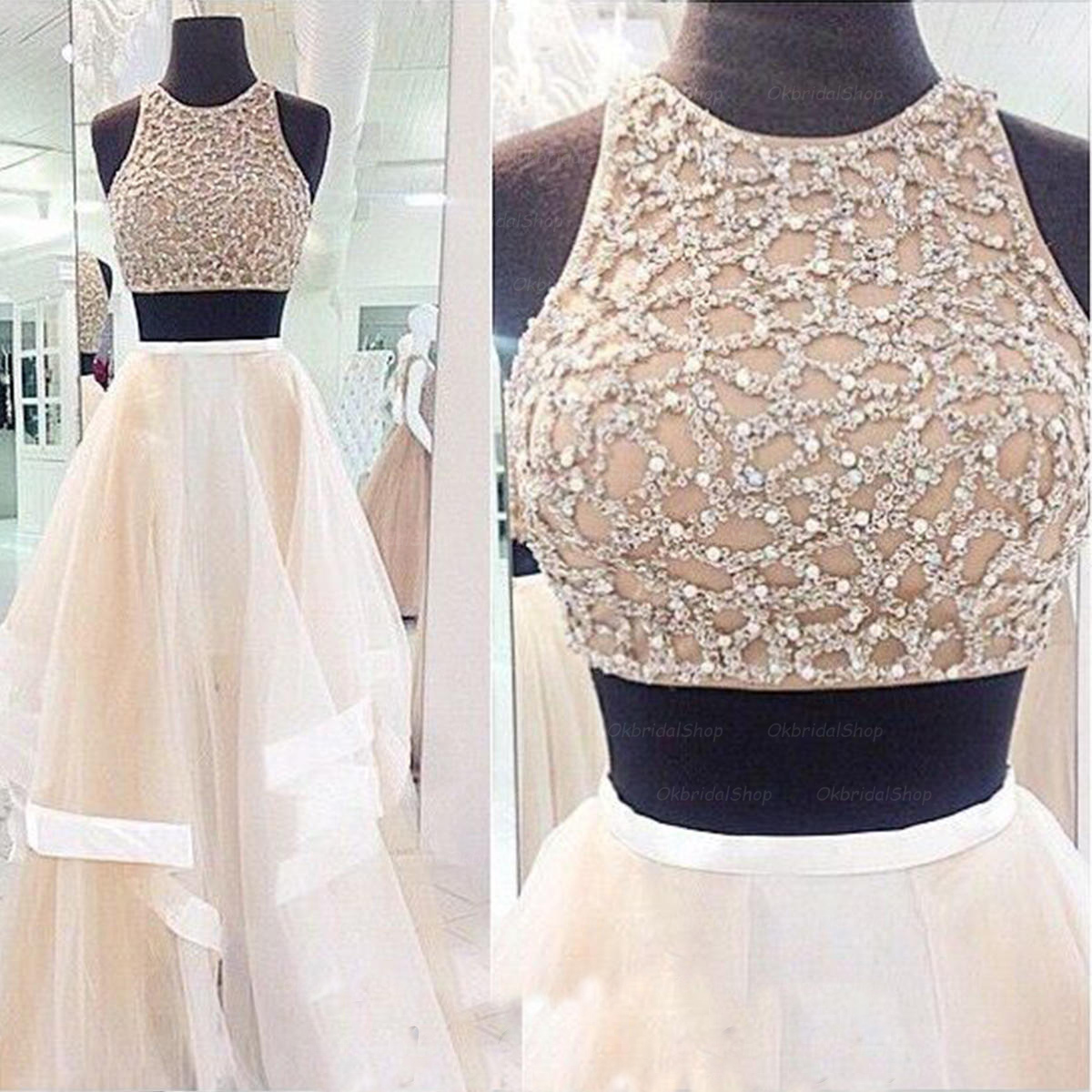Charming Prom Dress,Sexy 2 Piece Style Prom Dress,A-Line Prom Dress,High Neck Prom Dress,Tulle Prom Dress,PD1700494