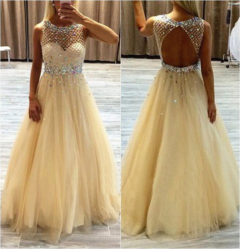 Yellow Tulle Backless Prom Dresses 2016, Backless Beading Bodice Evening Dresses,PD160826