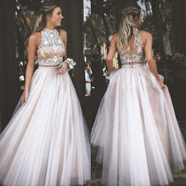 Twp Pieces Prom Dresses,A-line Prom Dress,Sleeveless Prom Dress,High ...