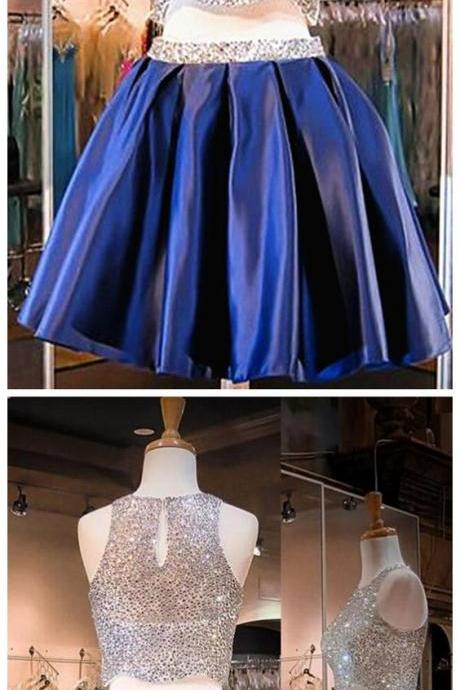 Charming Homecoming Dresses, two pieces Dresses,navy blue Dresses, Beaded Dresses, Juniors Homecoming Dresses