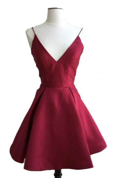Charming Homecoming Dresses, burgundy Dresses,strap Dresses, Beaded lace Dresses, Juniors Homecoming Dresses