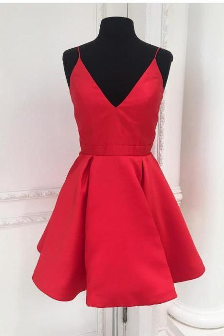 Charming Homecoming Dresses, Red Dresses,strap homecoming Dresses, Beaded homecmoing Dresses, Juniors Homecoming Dresses