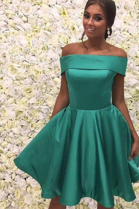 Charming Homecoming Dresses, Green Dresses,off shoulder homecoming Dresses, Juniors Homecoming Dresses