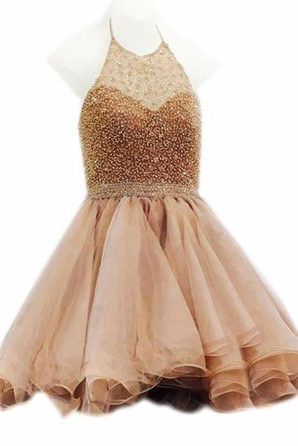 champagne homecoming dress,tulle formal dress,beaded prom dress,sequins homecoming gowns,short prom gowns