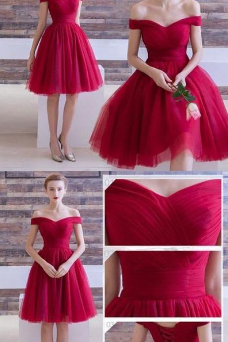 Red homecoming dress,off shoulder prom dress,A-line prom dress, tulle homecoming gowns,short prom gowns