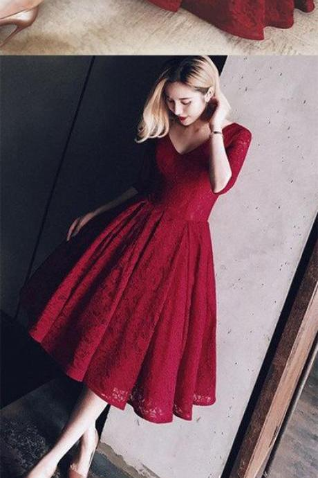 Burgundy prom dress, V-neck prom dress,lace long sleeves prom dress,short homecoming gowns