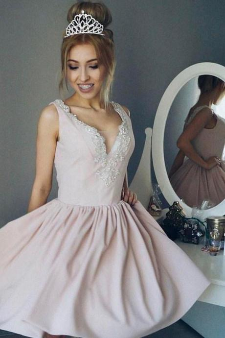 Pink prom dress, V-neck prom dress,A-line backless evening dress, beaded prom gowns