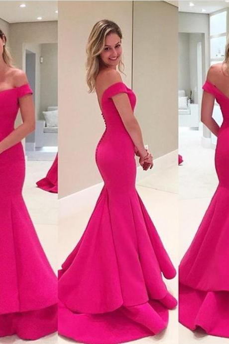 Hot pink prom dress,mermaid prom dress,backless long prom gown,off shoulder long evening gowns