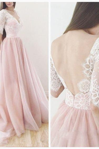 Pink prom dress, V-neck long prom dress,backless prom gown,lace tulle evening gowns