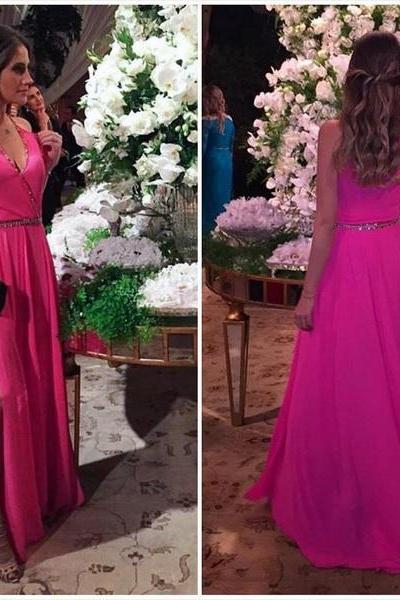 Hot pink prom dress, V-neck long prom dress,side slit prom gown,chiffon beaded evening gowns