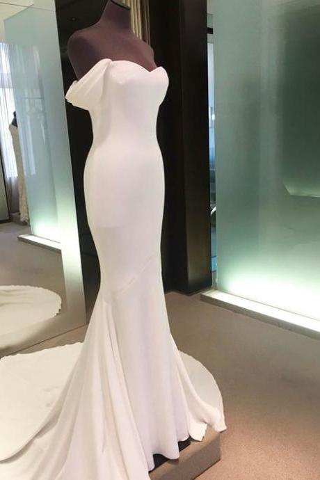White Off-the-Shoulder Mermaid Long Prom Dress, Evening Dress