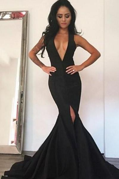 Black prom dress,mermaid V-neck long prom dress,side slit backless prom gown, spandex evening gowns