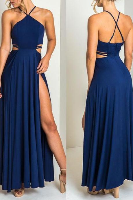 Dark blue prom dress,side slit long prom dress,strap crossing backless prom gown,chiffon evening dress