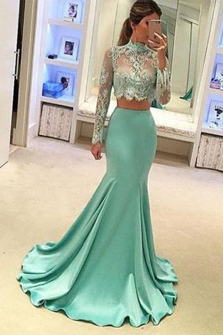 Green prom dress,mermaid long sleeves long prom dress,high neck two pieces prom gown,lace beaded evening dress