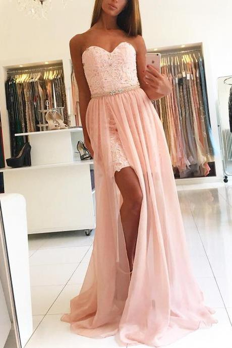 Pink Prom Dress,Sweetheart Prom Dress,Prom Dress for Teens,Long Beaded Prom Dress,Sexy Prom Dress