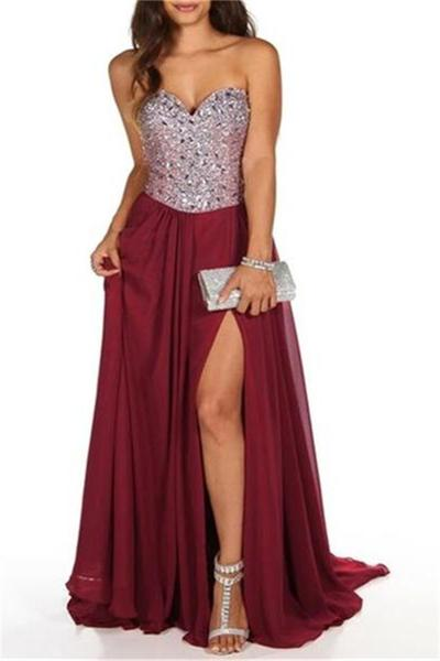 Burgundy Chiffon Prom Dresses Long A-line Sleeveless Evening Dresses Sweetheart High Slit Formal Gowns Sexy Beaded Crystals Party Pageant Dresses for Juniors