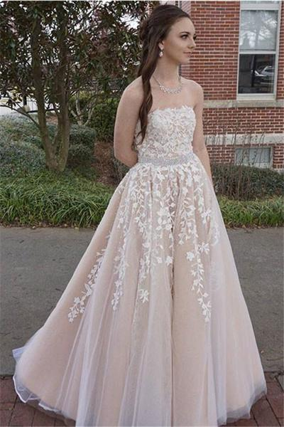 Champagne Tulle Prom Dresses A-line Long Sleeveless Appliques Evening Dresses Strapless Formal Gowns Sexy Beaded Waist Party Pageant Dresses for Juniors